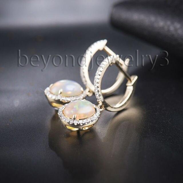 Vintage 14kt Yellow Gold Fire Opal Earrings For Women 585 Diamond Drop