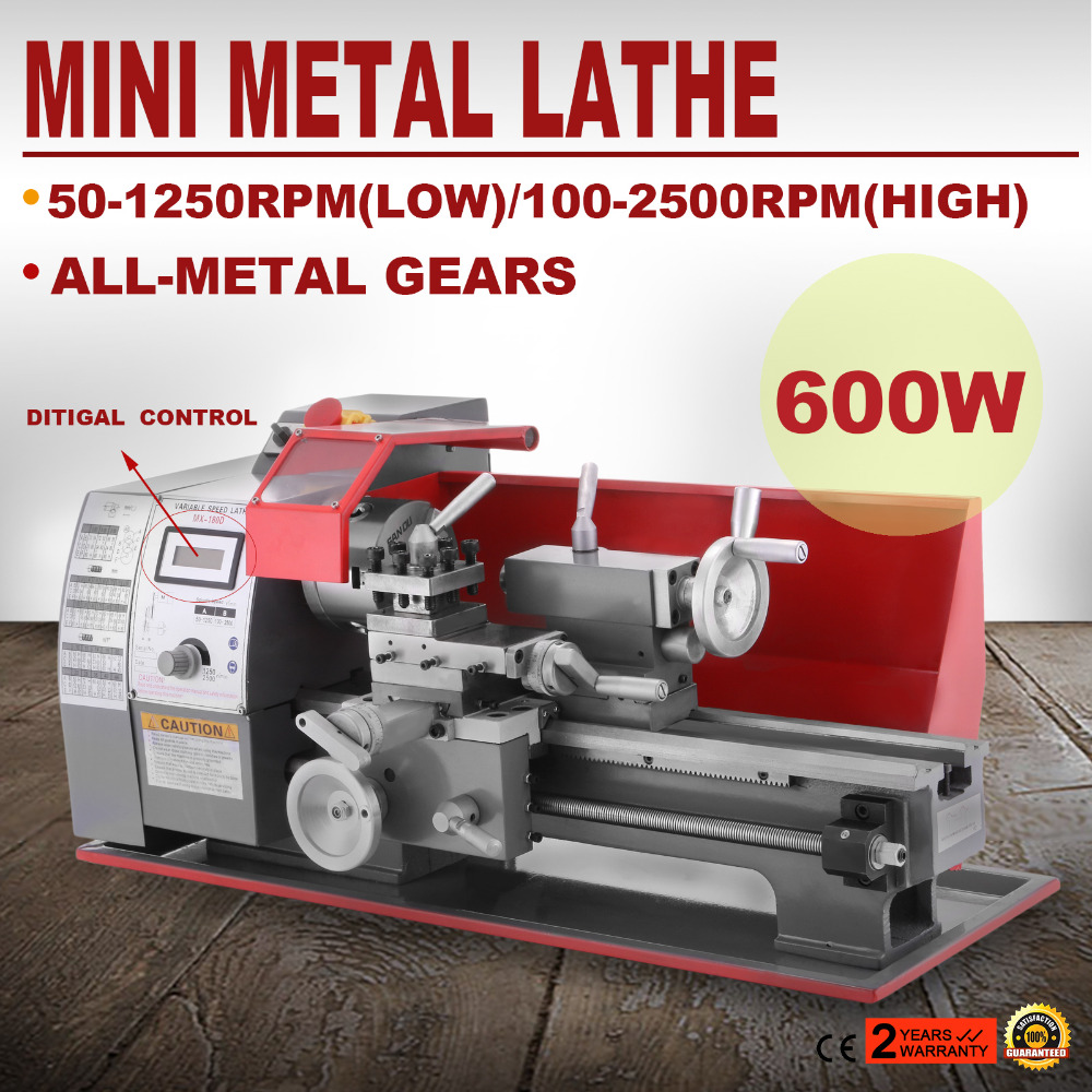 220 v/hz 50 Precisão Mini Torno 2500 rpm 600 w Mini Torno Do Metal Moagem de Velocidade Variável Bancada de Madeira torno De Metal Torno 7x12 Polegadas