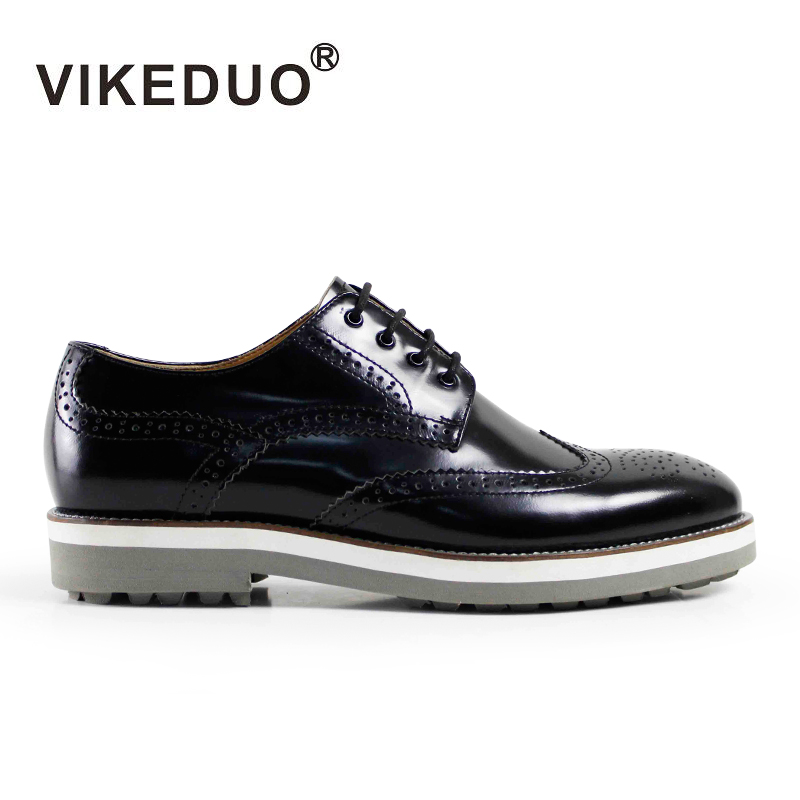 VIKEDUO Luxury Brand Newest Retro Handmade Italy Mens Summer Derby Shoes Royal Party Formal Shoe 100% Genuine Leather Footwear