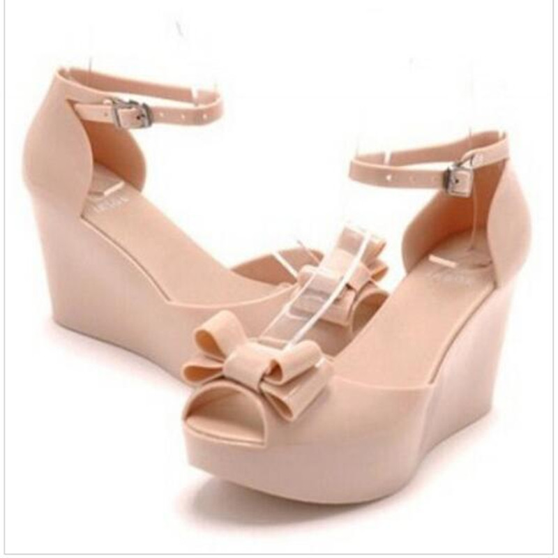 Wedges female sandals 2016 jelly shoes bow platform open toe high-heeled