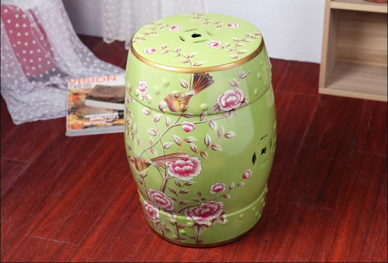 Chinese Birds Ceramic Stool Home Decoration Drum Porcelain