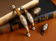Antique Bronze Dresser Pulls Handles Coffee Cabinet knobs Flower Drawer Handle Countryside Cupboard Knob Hardware