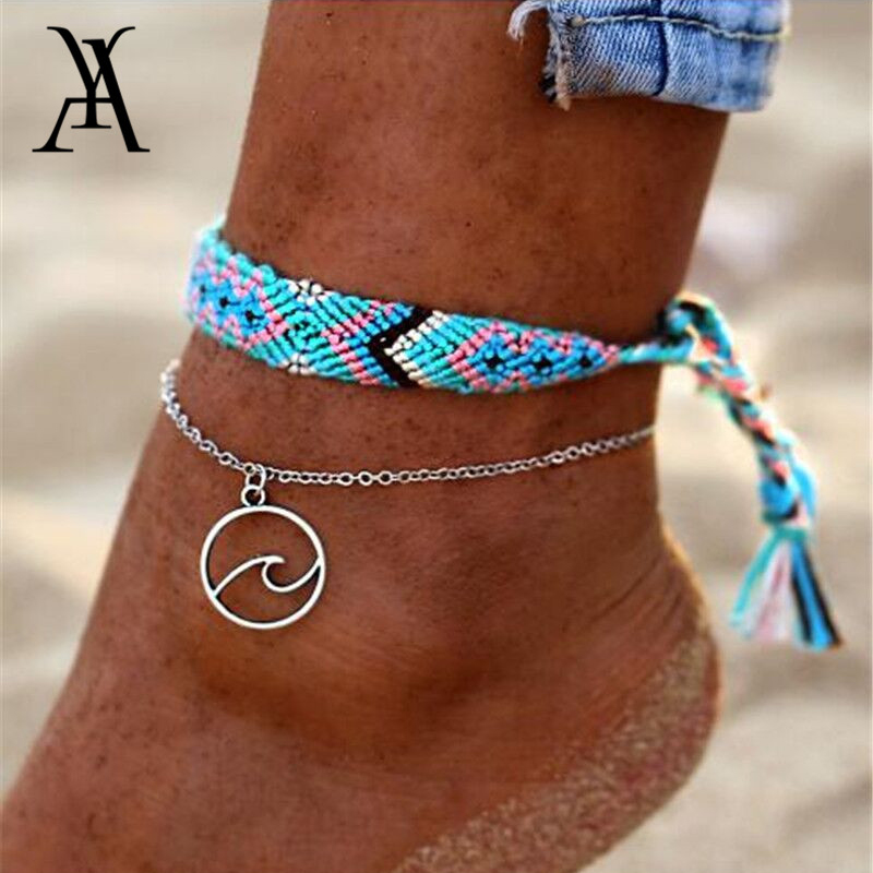 Bohemian Wave Anklet Cotton Woven Bracelets For Women Fashion Enkelbandje Anklets Boho Bracelets On the Leg Beach Foot Jewelry