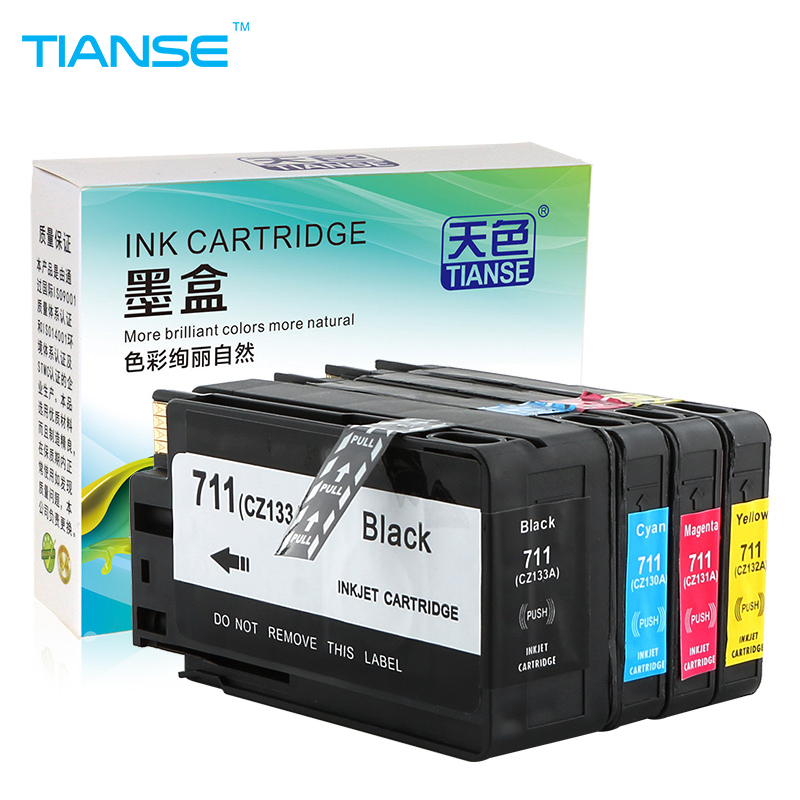 TIANSE Free shipping Compatible HP711 for HP 711 full ink cartridge For HP Designjet T120 T520 for CZ133A CZ130A CZ131A CZ132A hp711 printing ink refill kit 4color 1000ml for hp designjet t520 t120 printer