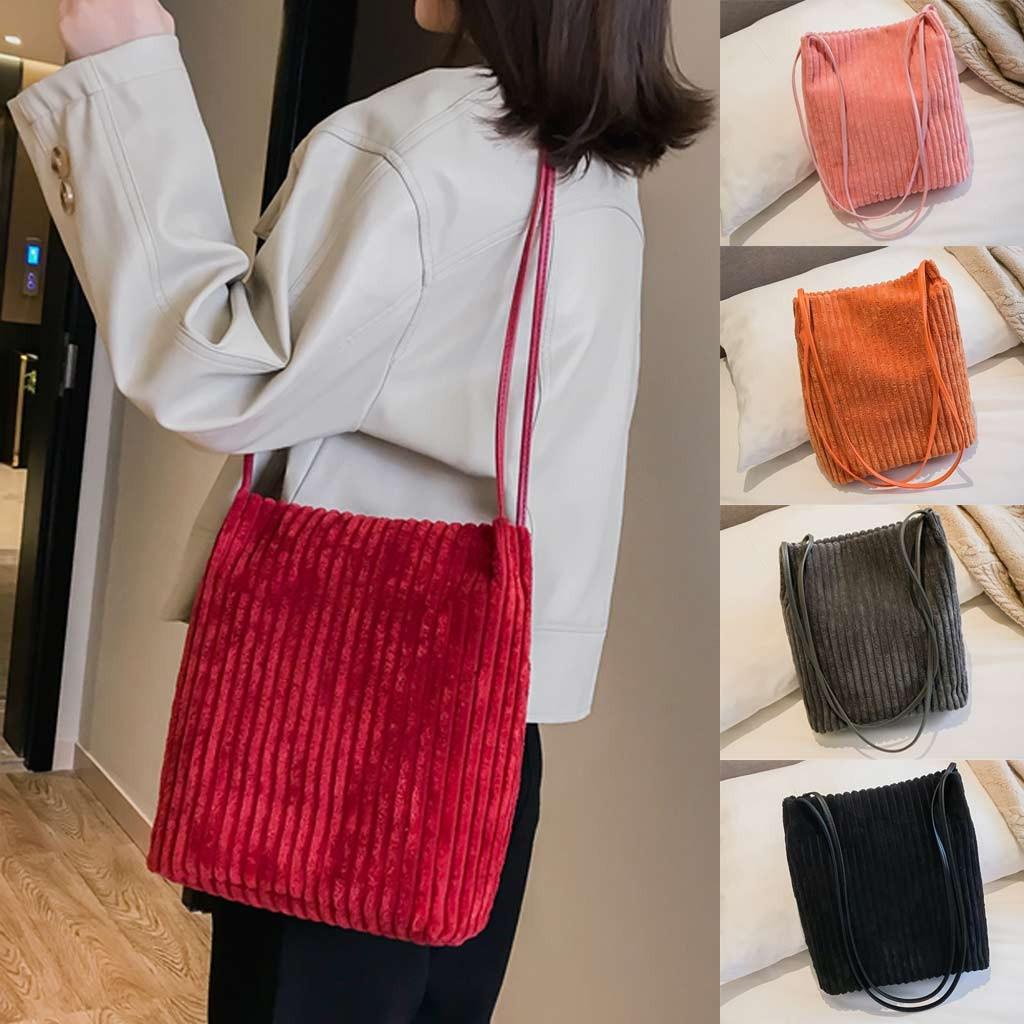 Damentaschen Willensstark Xiniu Frauen Mode Cord Feste Weichen Platz Tasche Eine Schulter Umhängetasche Berühmte Marke Designer Taschen 2019 Mode #30