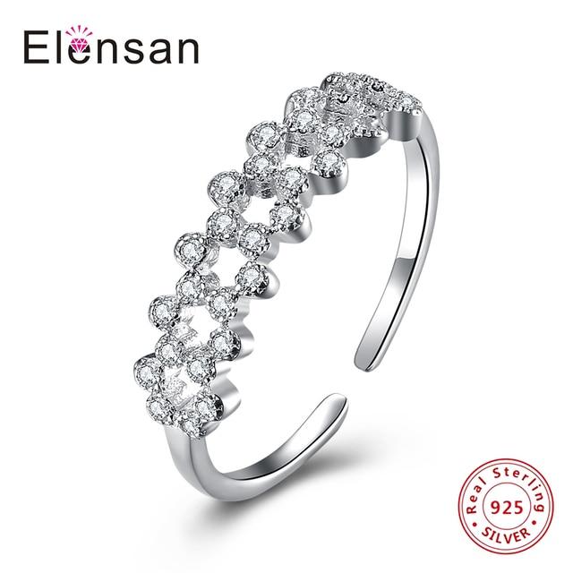 Elensan Roman Swarovski 925 Sterling Silver Adjustable Rings Flower Rings  Women s Rings Ladies and Girls Finger bab2bbb919