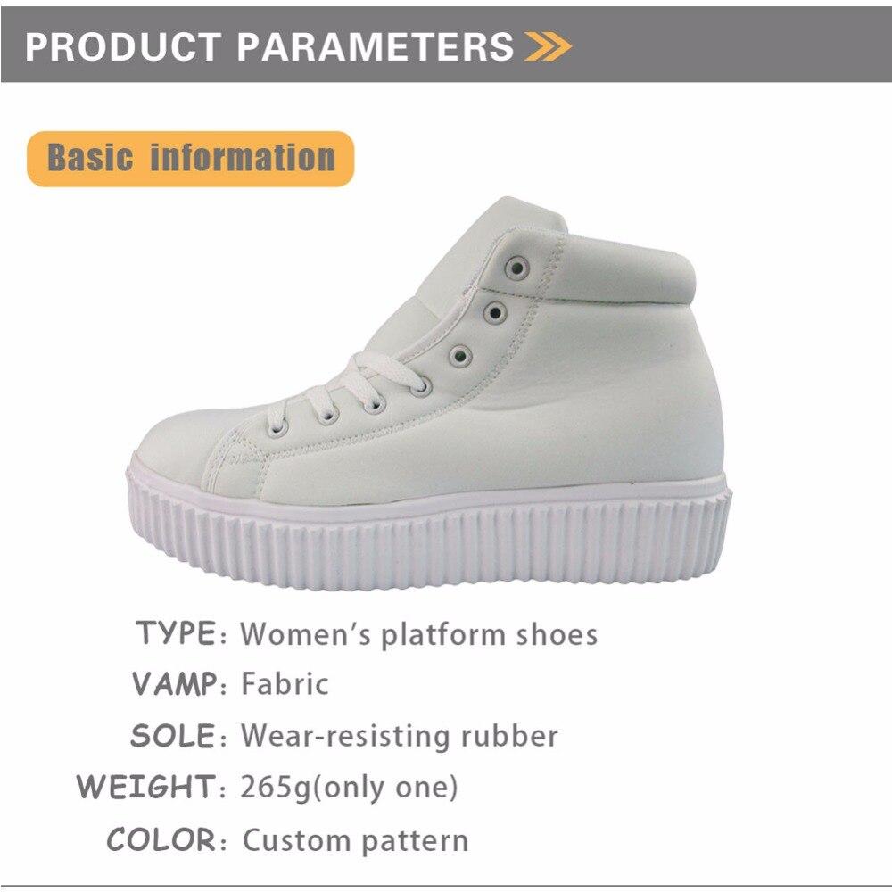 INSTANTARTS 3D amant livre imprimer femmes automne plate-forme décontracté respirant haut plat chaussures Zapato hauteur augmentant - 2