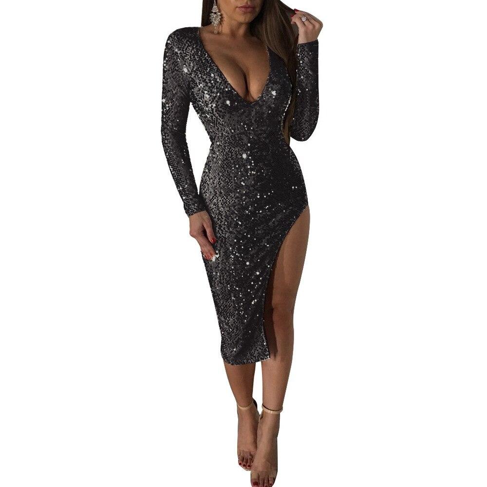 Nous souhaitons à amazon Europe et aux états-unis de nouveaux vêtements pour femmes à manches longues à paillettes col en v robe fendue robe dîner robe sexy