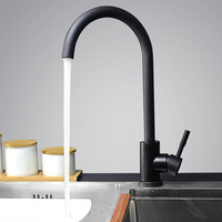 Modern Stainless Steel 360 Rotate Hot Cold Water Basin Faucet Bathroom Kitchen Faucets Single Lever Black Basin Mixer