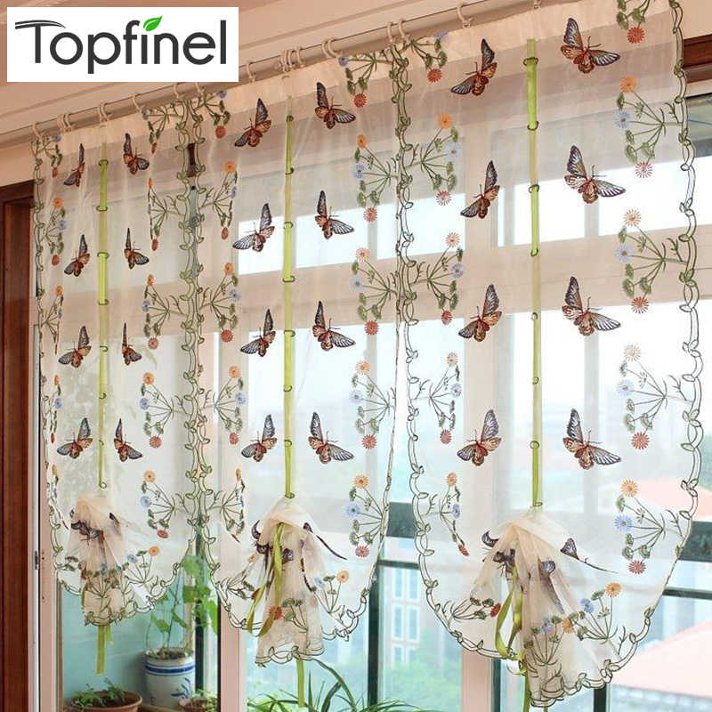 Top Finel Butterfly Kitchen Curtains Tulle for Windows Sheer Curtains for Living room Bedroom Window Embroidered Roman Curtain