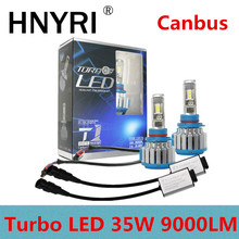 HNYRI Turbo фар автомобиля 70 W 18000Lm/комплект H1 H7 H4 Hi/Lo H8 H11 H13 9005 HB3 9006 HB4 лампы 9007 H3 свет светодиодный вождения спереди лампы