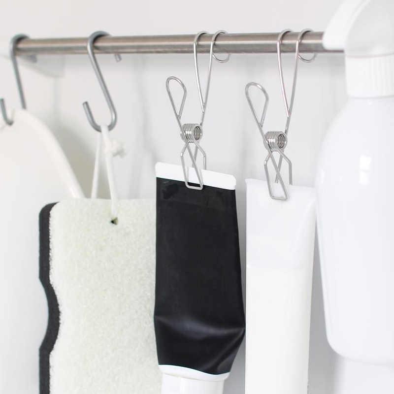 Sıcak paslanmaz çelik elbise mandalları çok fonksiyonlu dayanıklı Metal klipler giyim battaniye FQ yıldırım