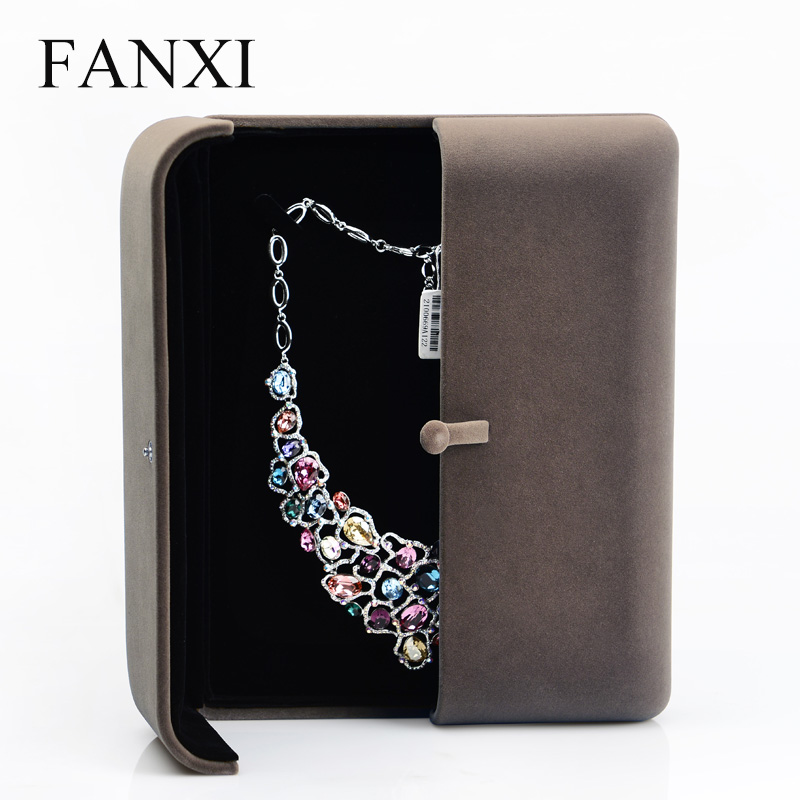 FANXI Delicate Coffee Pearl Necklace Display Box With Sponge Display Gift Box Paper Box Pearl Necklace Holder display box