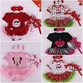 2017 New Year Baby Girl Clothing Infant Bebe Christmas Gift Cotton Santa Clause Rompers Dress+Headband+Shoes 3 pcs Sets Vestidos