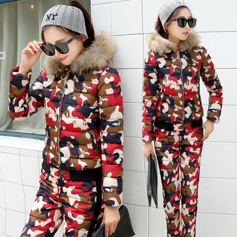 1 Épais Capuchon Camouflage Et Rembourré Pantalon 2 3 4 2018 Le Fourrure Hiver De Costume Bas Vers pièce Coton Deux À Coréenne Veste Ensemble Femmes n6npqTSX