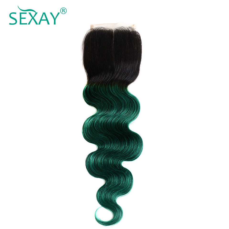 Sexay Green Ombre Human Hair Lace Closures 2 Tone 1B/Turquoise Ombre Brazilian Body Wave Hair Pre-Colored Non-Remy Lace Closures