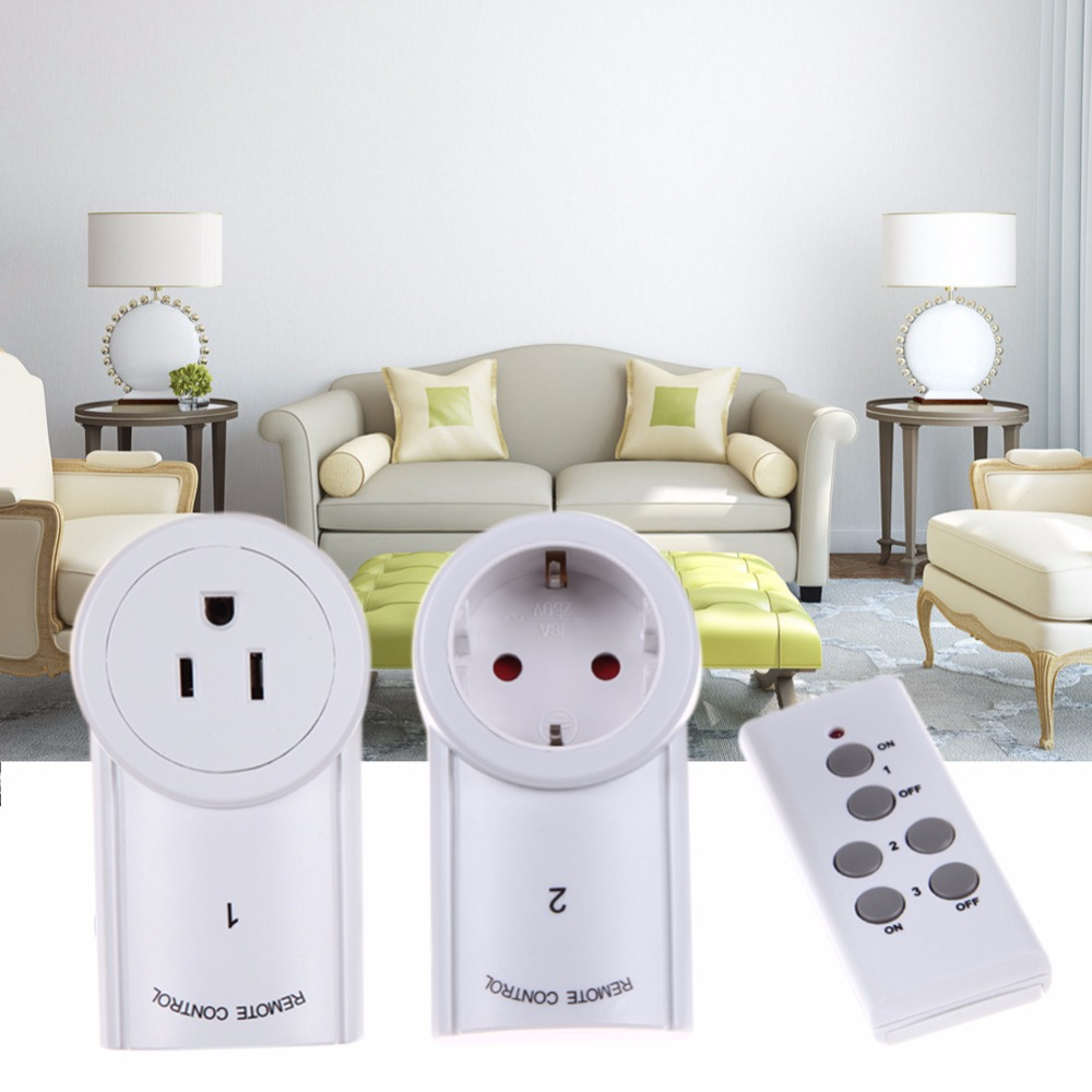 ALLOYSEED 3pcs/lot EU/US Socket Wireless Remote Control Power Outlet Light Switch Plug Smart Home Remote Switcher Outlet Socket