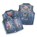 Nuevas Niñas Chaleco de Mezclilla Otoño del Resorte Sin Mangas Niños Ropa Bonita de la Mariposa Bordado Chaleco de Mezclilla Para Las Niñas 2-10 años