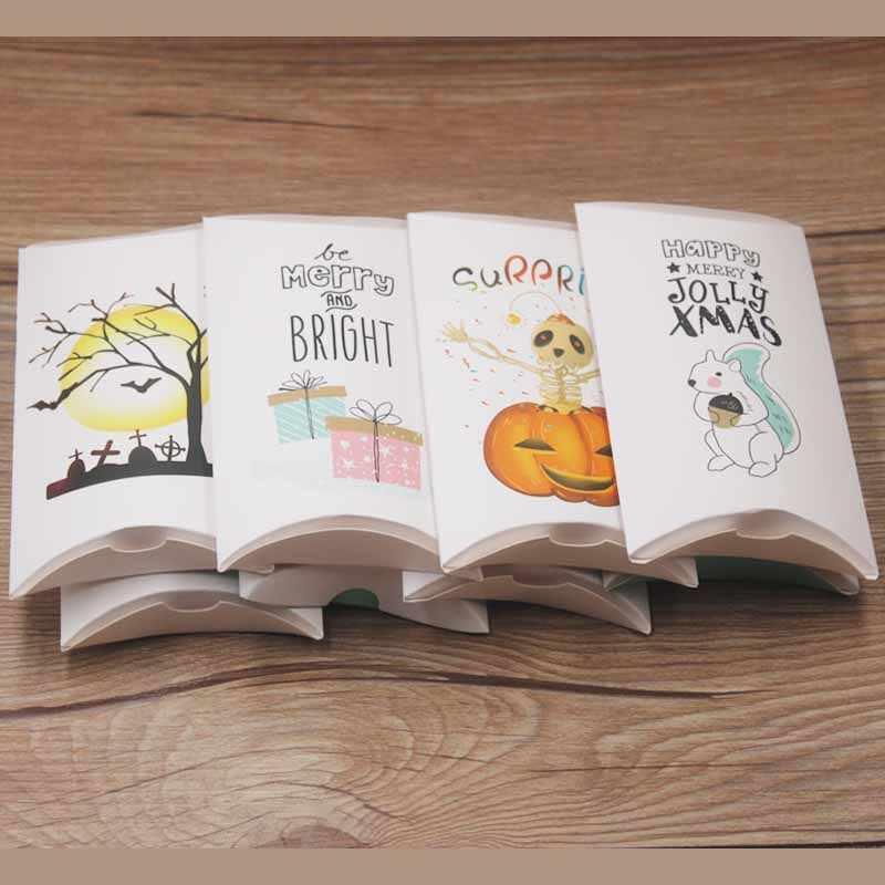 Feiluan Vintag Kraft Bantal Kotak untuk Chocolate CANDY COOKIE Baru Pesta Pernikahan Baby Shower Kertas Besar Bantal Hadiah Kotak Kemasan