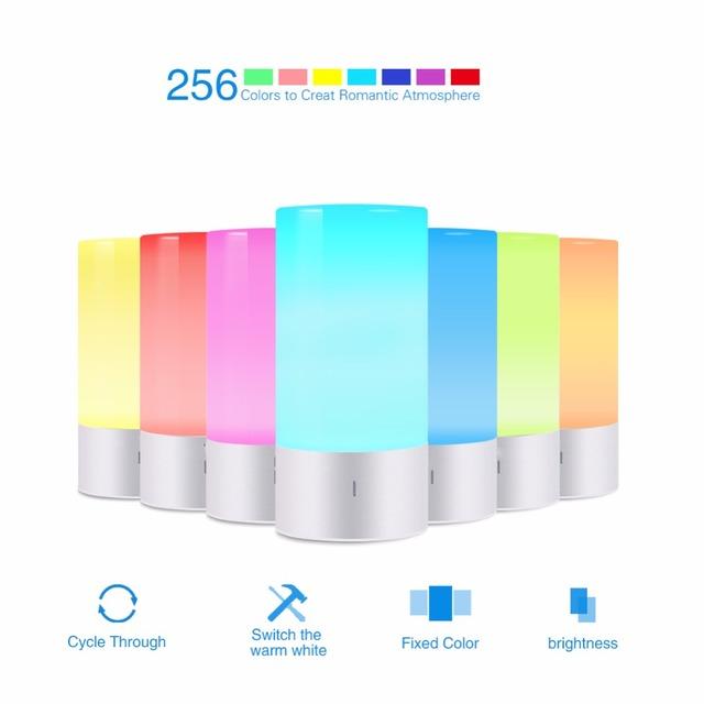 Sensor de Toque LEVOU lâmpada de Cabeceira Lâmpada de Mesa de Luz Pode Ser Escurecido 256 Mudando A Cor RGB Base de Alumínio Iluminação Mood Night Light