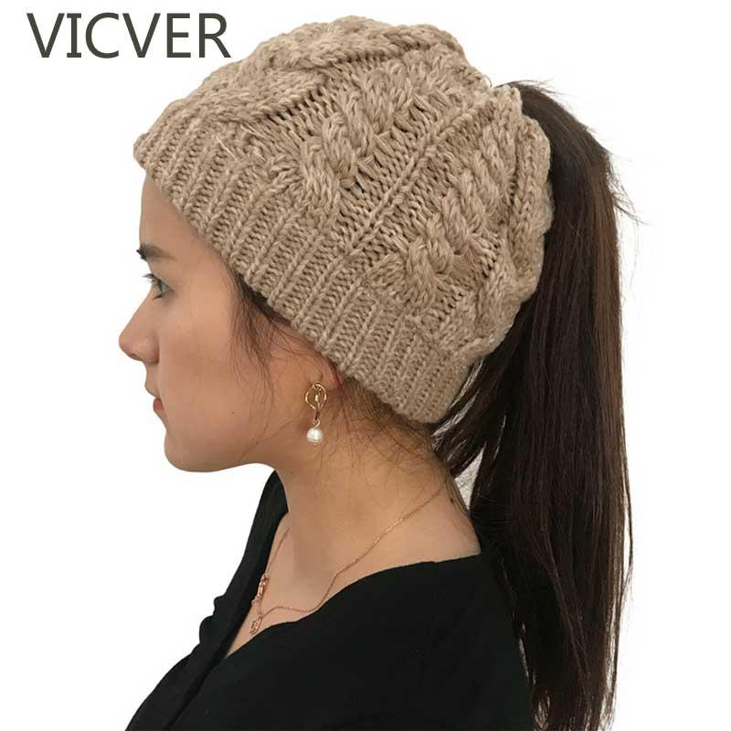 6f2af5dd2ae1 Soft Knit Ponytail Beanie Winter Hats For Women Woolen Cap Stretch Crochet  Messy Bun Holey Hat
