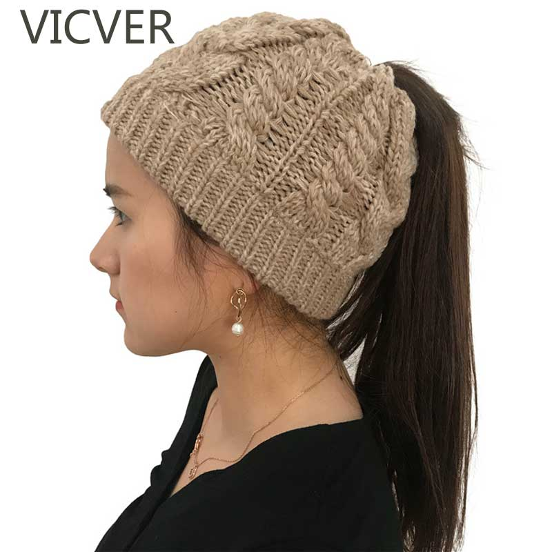 Soft Knit Ponytail   Beanie   Winter Hats For Women Woolen Cap Stretch Crochet Messy Bun Holey Hat Casual   Skullies     Beanies   Girl Caps
