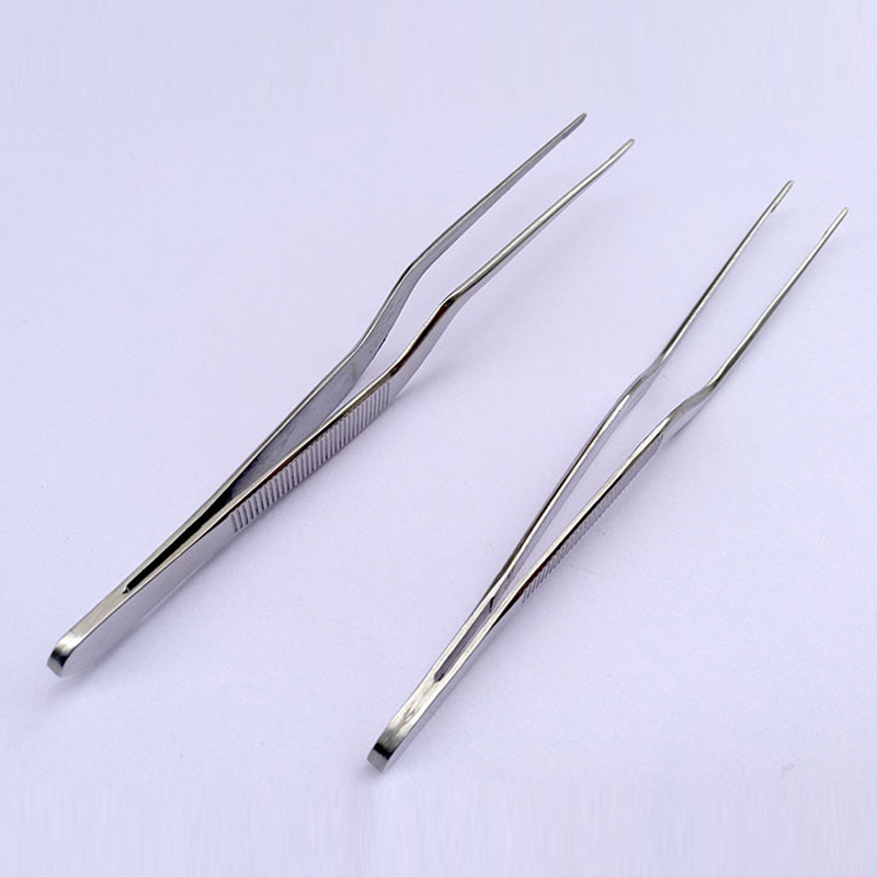 14cm/5.51inch Professional Chef Plating Tweezer Tongs Serving Presentation Stainless Steel Offset Kitchen Tool Silver