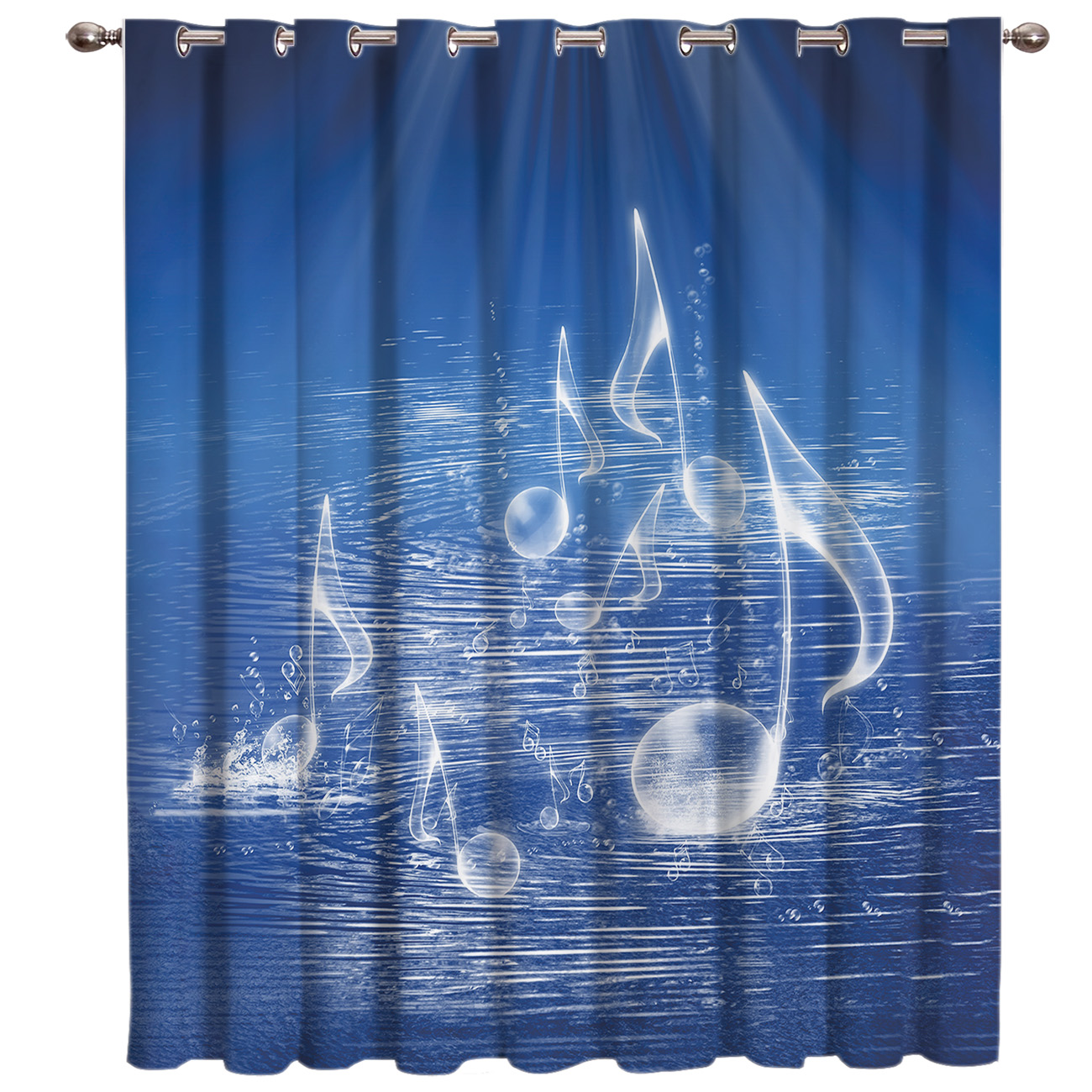 Blue Music Symbol Window Treatments Curtains Valance Bathroom Decor Outdoor Kitchen Indoor Curtain Panels With Grommets