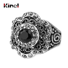 Kinel Fashion Silver Color Flower Rings For Women Mosaic Crystal Vintage Jewelry Wholesale