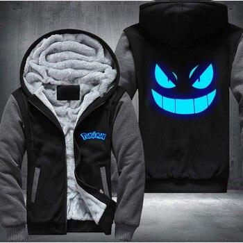 USA size Men Women Pokemon Pocket Monster Gengar Luminous Zipper Jacket Sweatshirts Thicken Hoodie Coat Clothing Casual 1