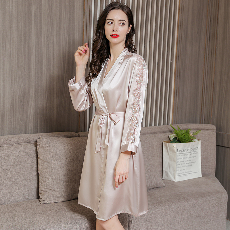 Fashionable Real Silk Sleepwear Female Summer Sexy Sling Nightdress Sleeping Robes Two Piece Lace Woman 39 s Robe Sets P9950 in Robe amp Gown Sets from Underwear amp Sleepwears