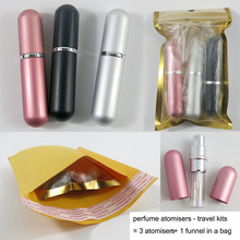 1set 5ML Travel Fashion Aluminum Shape Portable Perfume Spray Empty Bottle Glass Perfume  Atomizer Cosmetics Sprayer with Funnel 500ml clear glass separatory borosilicate funnel with ptfe stopcock pear shape funnel chemistry lab supplies