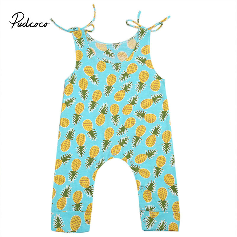Pudcoco New Baby Girl Clothes Toddlers pineapple sleeveless cotton Children rompers Baby Girls Pajamas Jumpsuits
