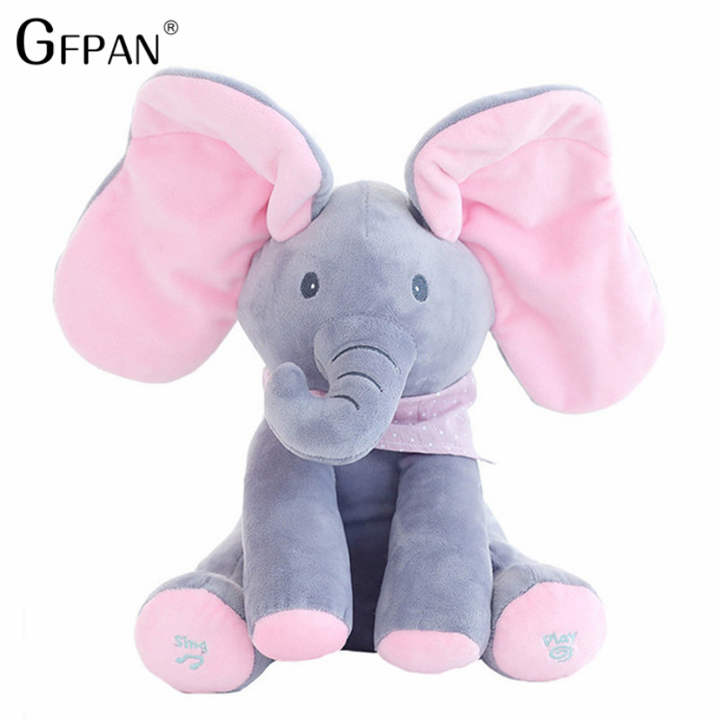 Peek boo Educational Singing Elephant Electronic Music Plush Toy Educational soft stuffed Anti-stress Child Funny Gift For Kids plush peek a boo dog toy peek a boo singing baby music toys ears flaping move interactive electronic pet doll children kids gift