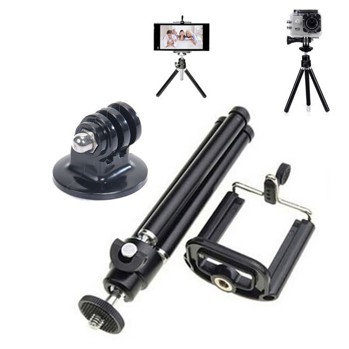 universal aluminum Mini tripod for camera Mobile Phone + Stand Holder+Tripe Mount Adapter for Gopro Camera HD SJ4000