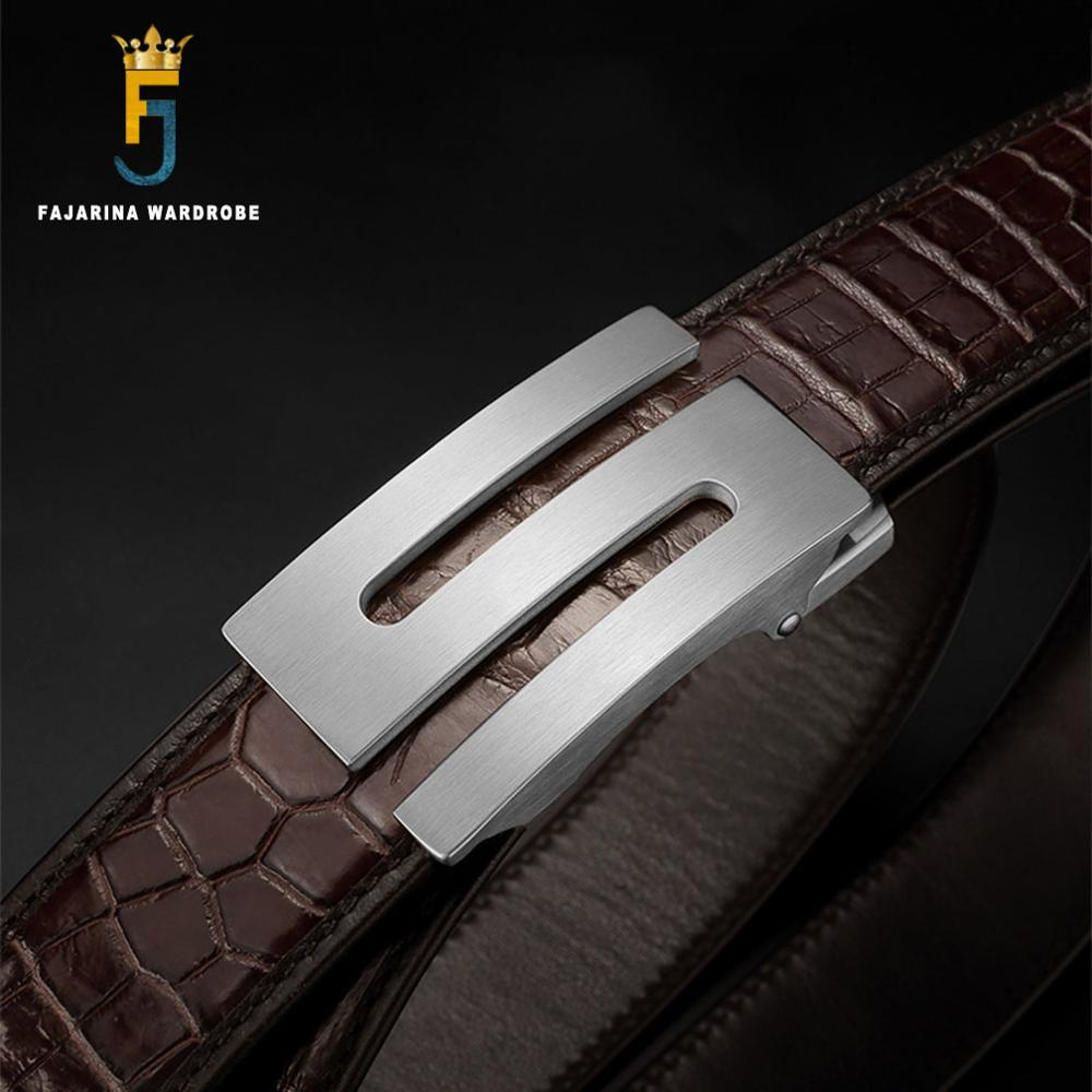 FAJARINA Top Quality Crocodile Skin Belts Exquisite Stainless Steel Letter Smooth Buckle Business Belt Men 33mm Wide EYFJ01M