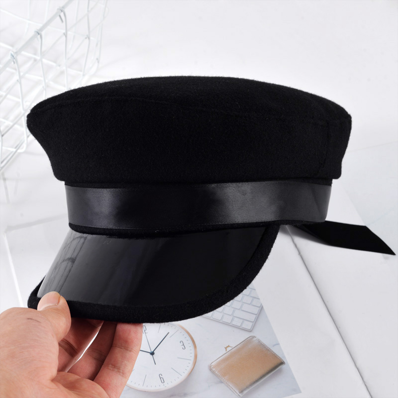 PU Leather Military Hat spring cotton Sailor Hat For Women Men Black Grey flat top Beret Newsboy Cap Captain Cap