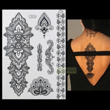 1PC Fashion Flash Waterproof Tattoo Women Black Henna Jewel Sexy Lace BJ016 Flower Totem Arm Body Art Temporary Tattoo Sticker