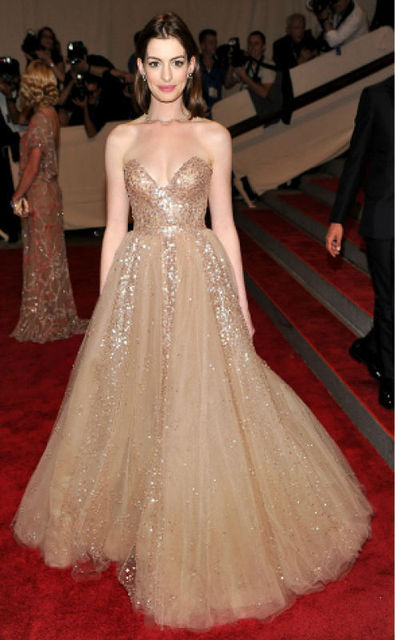 Anne Hathaway Nude Sequins Sweetheart Ball Gown Sweep Train Celebrity Evening Gown -4378
