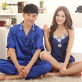 Couples Pajama Sets Summer Love Silk Sleepwea Men Pajamas Sexy Straps Silk Satin Pyjamas Women