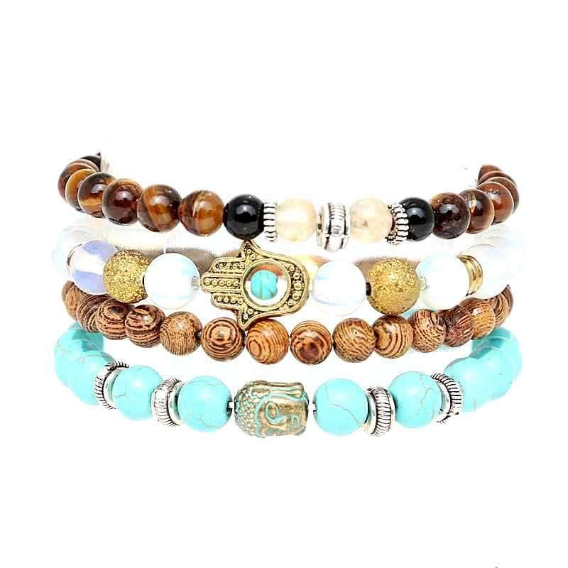 Boho stone beads pulsera set verde budista hamsa hand beads 4pcs set pulseras para declaración mujeres hombres joyería