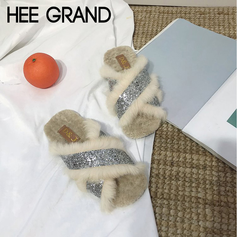 HEE GRAND Women 2018 Winter Fashion Slippers Causal Shoes Faux Fur Slip-on Bling Warm Women's Shoes Mujer Slippers XWT1402 hee grand 2018 new fashion flats shoes women oxfords faux fur pu leather solid mother causal slip on british style shoes xwd6955