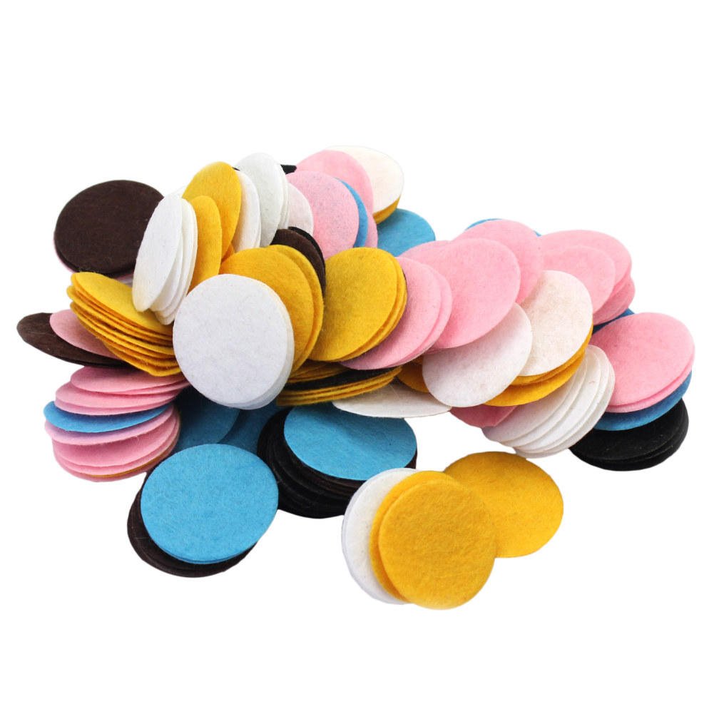 200pcs/Lot 30mm Round Shape Mixed Color Padded Felt Appliques Circle Pads Patches Fabric DIY Craft Scrapbook Clothing Decoration