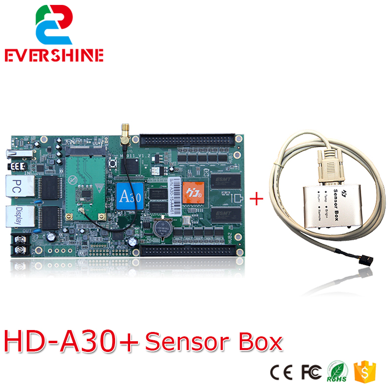 A30 HD-A30 full color led dpanel controller large display sending card and sensor box Support IR,Temperature/Humidity/Brightness bx 6q3 usb and ethernet port lintel full color led control card asynchronous video led sign controller 384 1024 512 768pixels