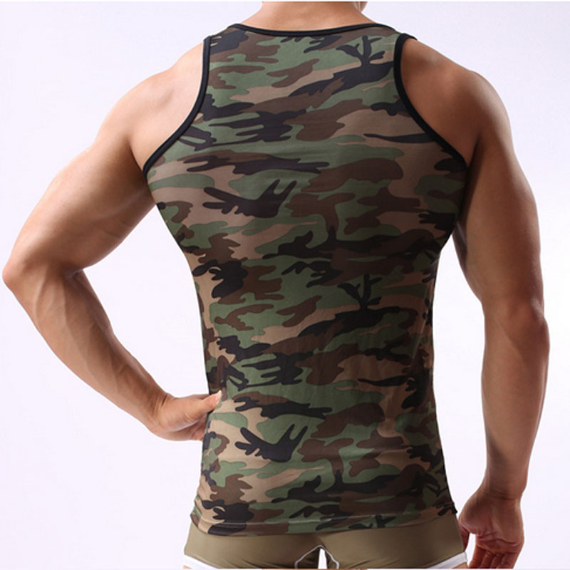 Camouflage mehed tank top brändi lycra kulturismi fitness singlets - Meeste riided - Foto 4