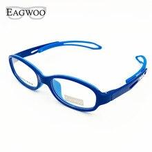 Eyeglasses EAGWOO Frame Spectacle 100 Silicon Boy Girl Children Plain Soft Temple Adjustable