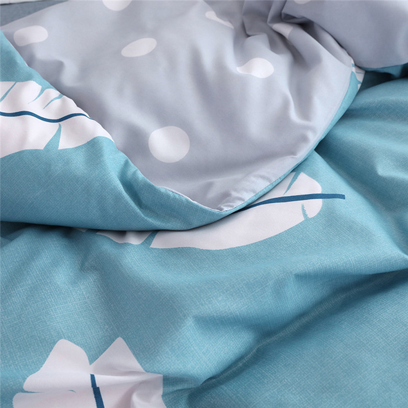 Image 4 - Four Piece Quilt Cover, Full Size Pillowcase With Fallen Leaves Sky Blue motifs infused with modern concepts  fitted sheet set-in Bedding Sets from Home & Garden