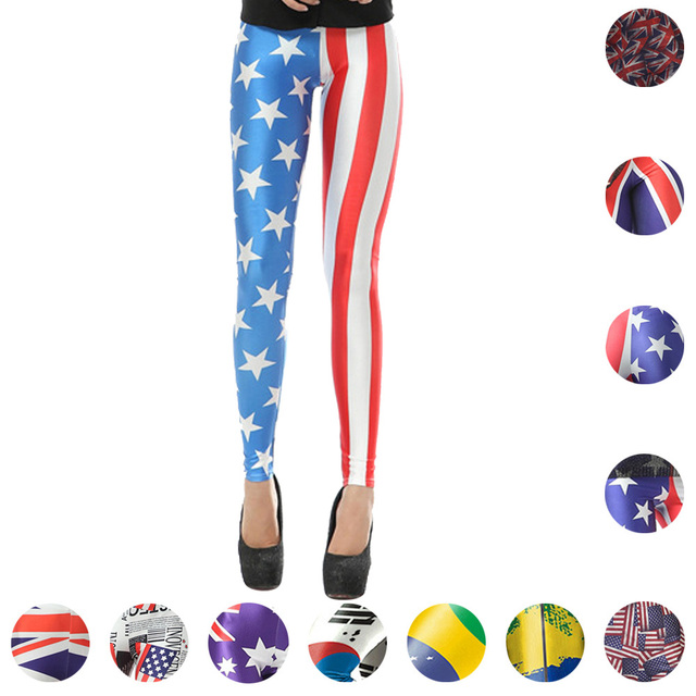 6e8f080f98 National Flag Sports Yoga Pants Fitness Running Skinny Leggings Australia  UK Flag Trousers Brazilian USA Flag Women Tights
