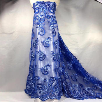 Beautiful flower french lace nigerian wedding dress 3D Flower fabric wholesale african tulle net laces fabrics dubai for party