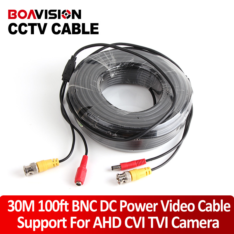 BNC + DC Connector 30m/100ft CCTV Extension Cable For Security System Camera Cable BNC Power Support CVI,TVI,AHD Cameras